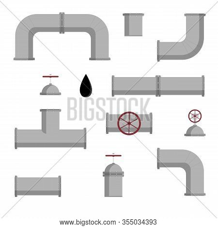 Vector Set Of Pipelines Elements For Oil, Gas, Water Isolated On White Background. Kit Of Steel Or P