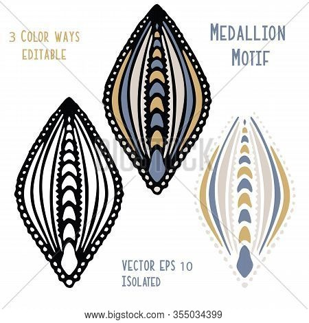 Vintage Ogee Motif Vector Clipart Isolated On White. Hand Drawn Ethnic Doodle Style Persian Or Slavi