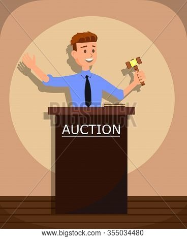 Young Cartoon Man Auctioneer With Gavel Vector Illustration. Buying And Selling Goods Or Services, O