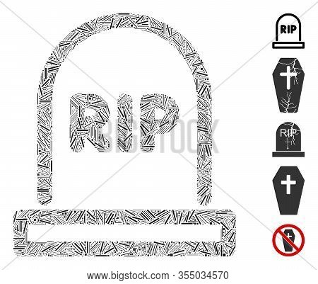 Line Mosaic Based On Tomb Icon. Mosaic Vector Tomb Is Formed With Scattered Line Dots. Bonus Icons A