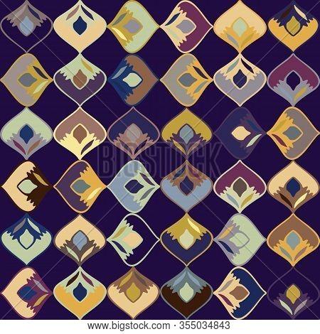 Dark Stylized Leaf Mosaic Vector Seamless Pattern. Hand Drawn Art Deco Style Geometric Square Backgr