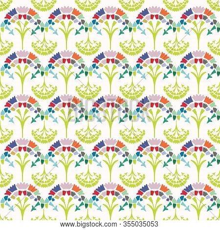 Fresch Spring Carnation Damask Background. Bright Stylized Floral Summer Motif Medallion Seamless Pa