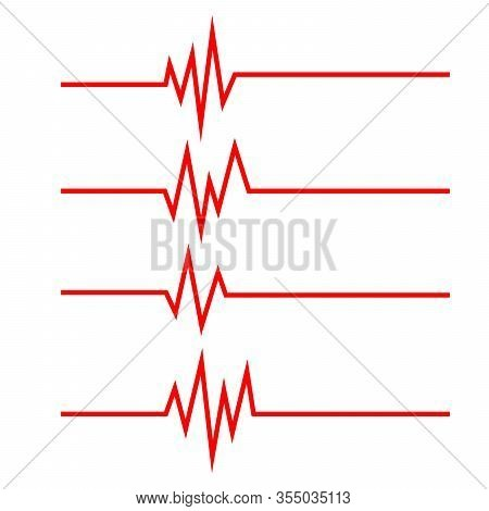 Set Of Heartbeat Line Icons In Flat Style. Heartbeat Waves. Pulse Symbols Isolated. Vector Illustrat