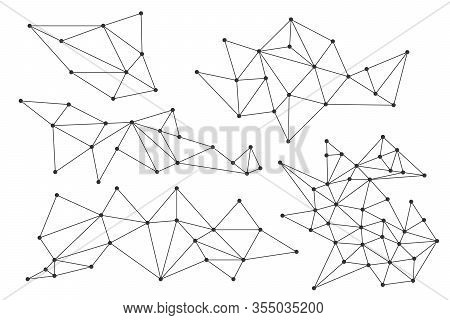 Set Of Triangular Linear Elements. Triangular Templates Isolated. Polygonal Graphic Elements. Vector
