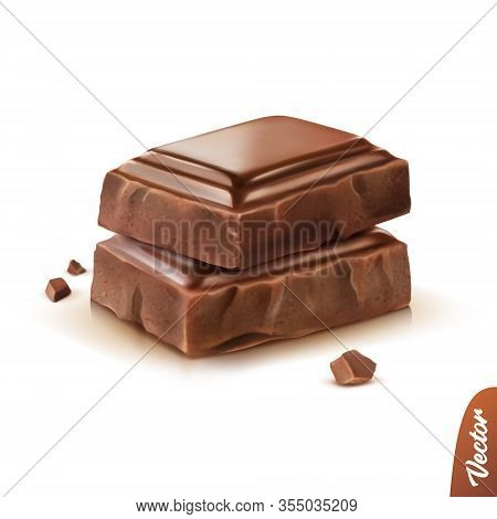 3d Realistic Isolated Vector Icon, Two Pieces Of Milk Or Dark Chocolate With Crumbs