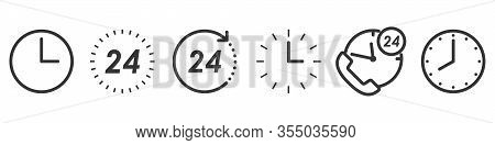 Set Of Time And Clock Icons In Thin Line Style. Outline Time Icons Isolated. Vector Illustration. Li