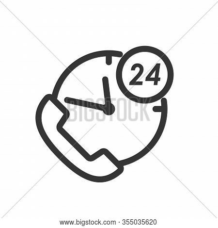 Clock With Phone Handset In Thin Line Style. Working Time Concept. Service Concept. Vector Illustrat