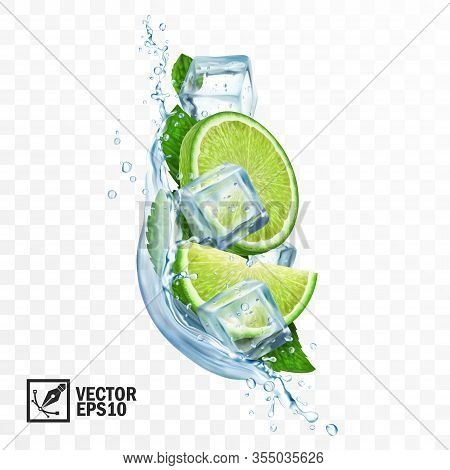 3d Realistic Transparent Vector Vertical Splash Mojito, Ice Cubes, Mint Leaves, Water Splash And Lim