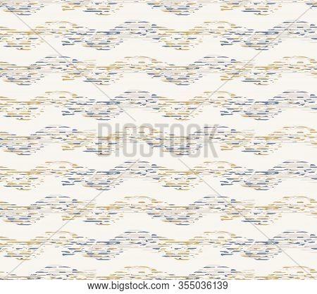 Grey French Linen Vector Broken Wave Stripe Texture Seamless Pattern. Brush Stroke Grunge Abstract B