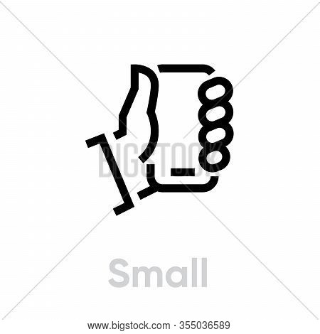 Small Phone Specs Tech Vector Editable Line Icon. Simple Pictogram Isolated On White Background.