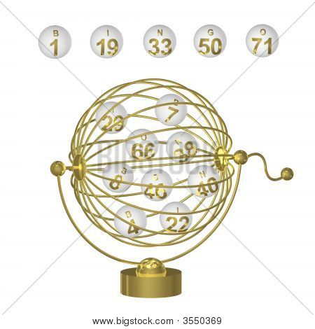 Bingo Balls In Gold Cage