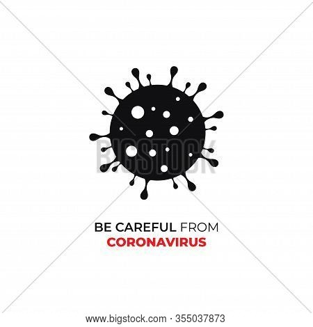 Coronavirus And Bacteria Cell Icon Isolated On White Background. Coronavirus And Bacteria Cell Icon
