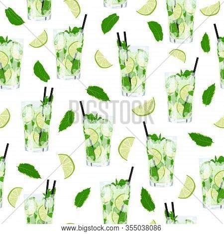 Vector Seamless Pattern With Glass Of Lemonade Or Mojito Cocktail With Flying Mint And Lime Citrus F