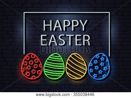 Happy Easter, Neon Greeting Card With Eggs. Dark Retro Brick Wall Background. Vector Illustration