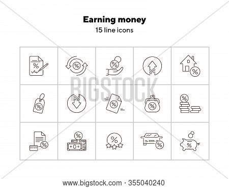 Earning Money Icon Set. Line Icons Collection On White Background. Percent, Credit, Loan. Payment Co