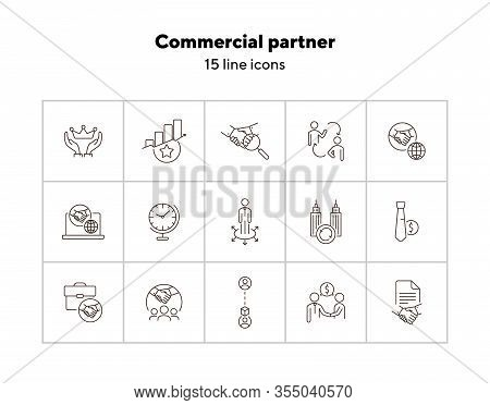 Commercial Partner Icons. Set Of Line Icons. Global Time, Successful Rating, Cooperating Firms. Part