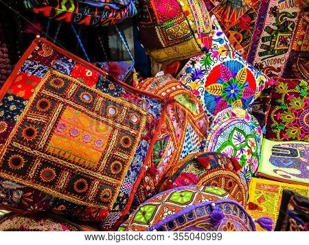 Rishikesh, India - Circa March 2018. Bags And Pillows On The Flea Market In Rishikesh.