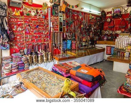 Rishikesh, India - Circa March 2018. Goods In Souvenir Shop On The Street Of Rishikesh.