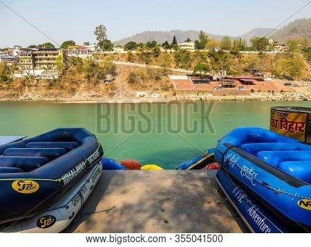 Rishikesh, India - Circa March 2018. Rafting On The Ganga River In Rishikesh
