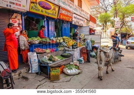 Rishikesh, India - Circa March 2018. Vegetable Market On The Streets Of Rishikesh.