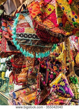 Rishikesh, India - Circa March 2018. Bags On The Flea Market In Rishikesh
