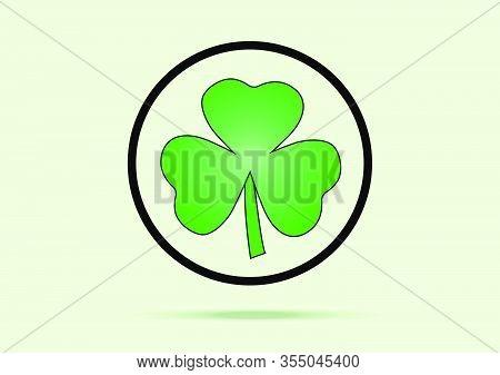 Green Shamrock Leaf Icon In Design Flat Style Isolated On White Background. You Can Shamrock Leave U
