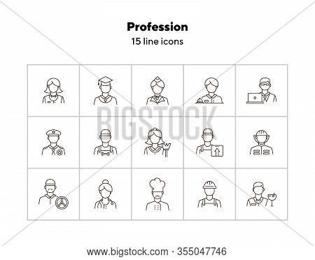 Profession Icons. Set Of Line Icons On White Background. Hotel Receptionist, Chef, Doctor. Occupatio