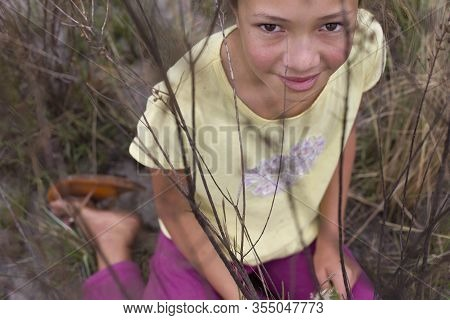 Diamantina, Minas Gerais, Brazil - January 27, 2016: Young Girl Picking Evergreen Flowers In At Galh