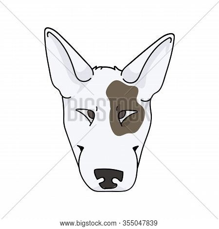 Cute Cartoon Bull Terrier Dog Breed Face Vector Clipart. Pedigree Kennel Show Dog For Dog Lovers. Pu