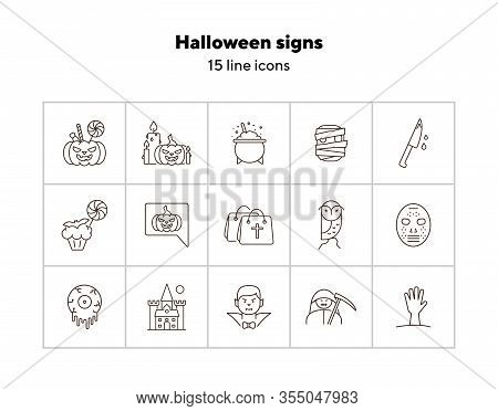 Halloween Signs Line Icons. Bags With Cross, Vampire, Pumpkin. Halloween Concept. Vector Illustratio