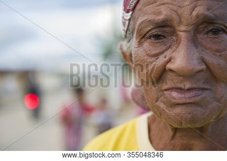 Uniao Dos Palmares, Alagoas, Brazil - June 17, 2016: Senior Quilombola Woman In The Streets Of Uniao