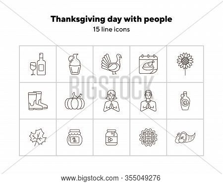 Thanksgiving Day Line Icon Set With People, Wine And Pumpkin. Turkey Cock, Cornucopia, Pie, Praying