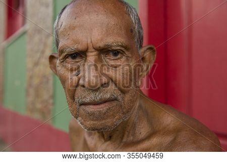 Alcantara, Maranhao, Brazil - May 20, 2016: Senior Brazilian Man From Alcantara, Northeast Brazil