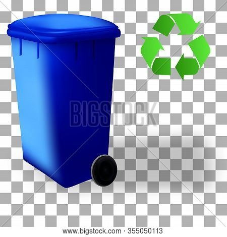 Recycled Symbol And Sorting Container. Set Of Recycled Colorful Dustbin. Bin Trash Isolated Containe