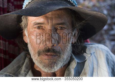 Aquidauana, Mato Grosso Do Sul, Brazil - August 31, 2016: Pantaneiro (wetlands Cowboy) With Clear Ey