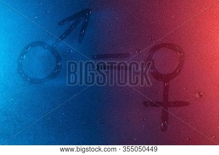 Equality Man And Woman Symbol In Neon Light Background Drops Trend 2020 Color Aqua Menthe Classic Bl