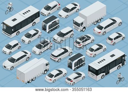 Flat 3d Isometric High Quality City Transport Car Icon Set. Bus, Bicycle Courier, Sedan, Van, Cargo