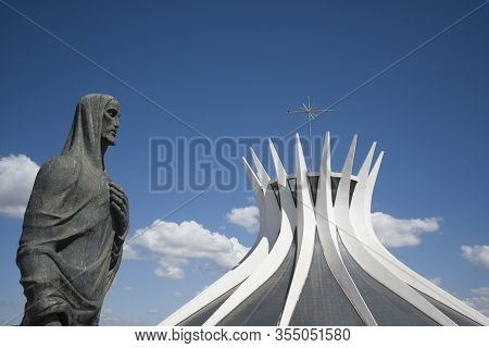 Brasilia, Distrito Federal, Brazil - May 03, 2016: Evangelist Statue In The Entrance Of The Metropol
