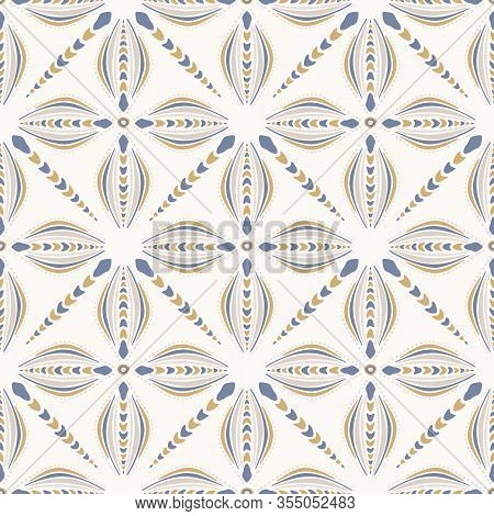 French Shabby Chic Azulejos Tile Vector Texture Background. Dainty Flower Yellow Blue On Off White S
