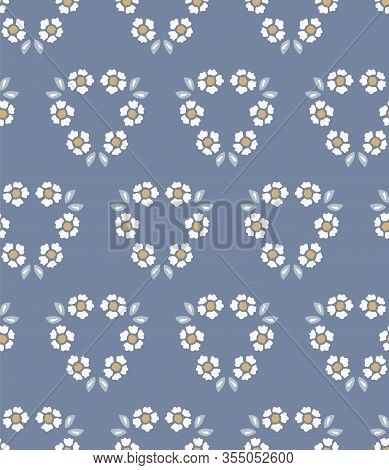 French Shabby Chic Damask Vector Texture Background. Dainty Flower Daisy Blue Off White Seamless Pat