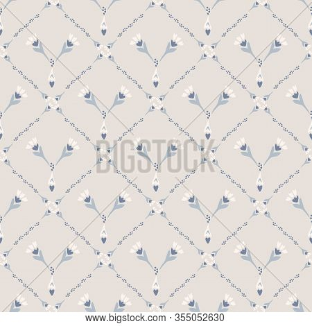 French Shabby Chic Azulejos Tile Vector Texture Background. Trellis Grid Yellow Blue On Off White Se