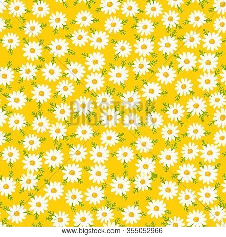 Daisy Seamless Pattern On Yellow Background. Floral Ditsy Print With Small White Flowers And Leaves.