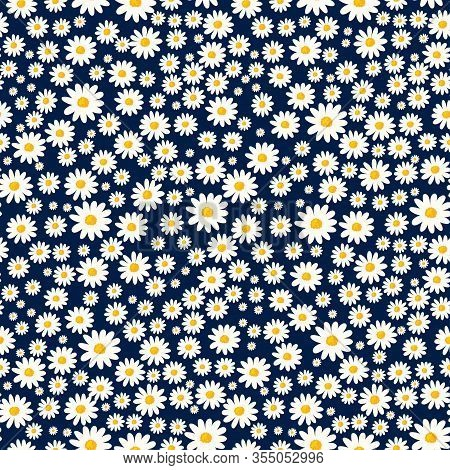 Daisy Seamless Pattern. Floral Ditsy Print With Small White Flowers. Chamomile Design Great For Fash