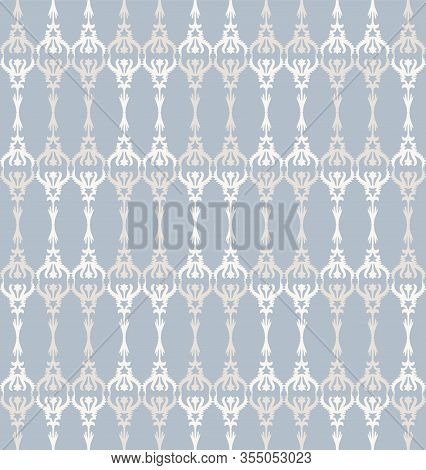French Shabby Chic Trellis Vector Stripe Background. Ornate Ornmental Ironwork Fence Seamless Patter