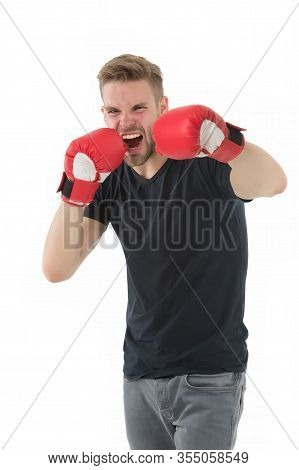 Brutal Knockout In Sport. Full Of Energy. Sport Success. Boxer Man Workout, Healthy Fitness. Male Sp