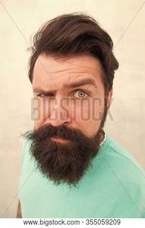 Look. Perceptions Of Male Beauty. Stylish Beard And Mustache Care. Strict Face. Beard Fashion Barber