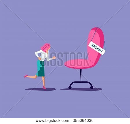 Emploee Run For Vacant Position Metaphor. Empty Chair Of Vacant Work. Flat Art Vector Illustration