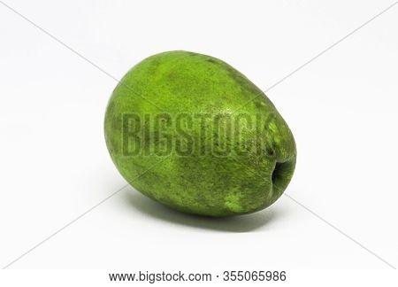 Olive Fruit Isolated On White Background. Green Olive Fruit