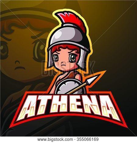 Vector Illustration Of Athena Mascot Esport Logo Design