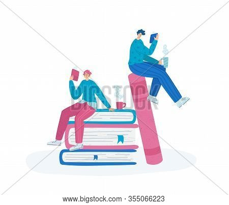 People Reading Book, Miniature Man And Girl Or Two Students Read And Study, Literature Fans Or Lover